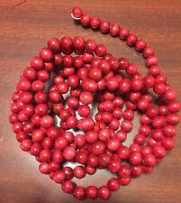 2 Vintage Primitive Cranberry Red Wooden Christmas Garland 9'