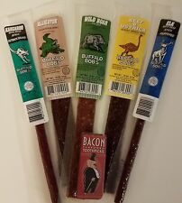Buffalo Bob's Wild Game Jerky Sampler Gift Pack of 5 & Bacon Flavored Toothpics