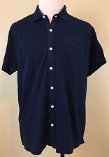 Orvis Men's Navy Full Button Front Short Sleeve Pique Polo Style Shirt. Size XL