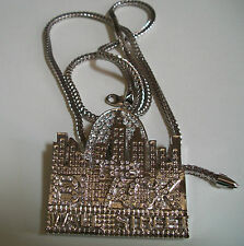 Silver Finish Hip Hop Bling THE BLACK WALL STREET Rapper Style Pendant w/ Chain
