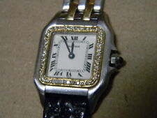 CARTIER Panther Lady Diamond Square Quartz Wrist Watch 18k 750 Yellow Gold Steel