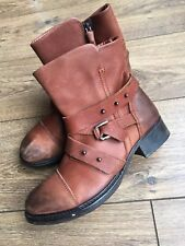 Buffalo Rich Brown Leather Biker Strap Ankle Boots 6 39