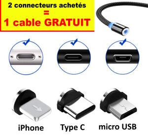 Connecteur Cable Magnétique Type-C Micro USB iPhone 12/ 11/ Pro Mini X/S/R/MAX