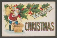 "[41960] 1908 POSTCARD ""A MERRY CHRISTMAS"" showing SANTA"