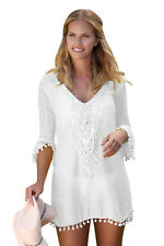 White Beach Dress Cover up kaftan Crochet lace beachwear boho 12/14 UK SELLER