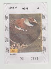 1994 Portugal gum or candy paper wrapper Bacalhau Cobaia #061 - Pheasant bird