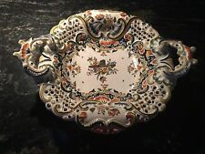 """Antique French Desvres Faience Footed Handled Bowl 13"""""""