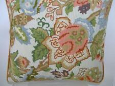 Vintage Floral Needlepoint Handmade Custom Wool Needlepoint Pillow 14x14