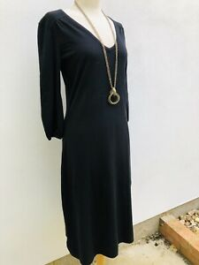 Laura Ashley Black Sweater Dress Knitted Cotton Blend Midi Size 12 3/4 Sleeves