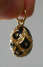 "Faberge inspired Russian Egg Pendant /Charm bejeweld Great Gift Easter 7/8"" blac"