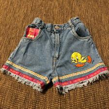 Vintage Tweety Bird Looney Tunes Girls Denim Blue Cutoff Jean Shorts Size 6 90s