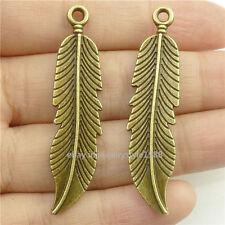 16848*15PCS Bronze Bird Feather Plant Leaf Pendant Charm Alloy