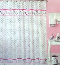 Hair Salon Polka Dot Shabby Chic Black White Pink Shower Curtain Diva Bathroom