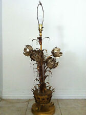Vintage Hollywood Regency lamp gold floral tole table lamp mid century chandel
