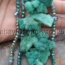 """S111811 19"""" 4 Strands Green Agate Druzy Crystal Necklace"""