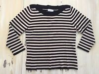 WORTHINGTON - Womens Black & Tan Striped Boat Neck Stretch Sweater Top, LARGE