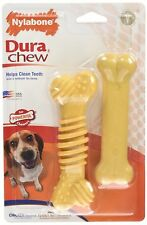 Nylabone Wolf Textured Twin Pack Chicken Peanut Butter Chew Toy Strong NW403TPP