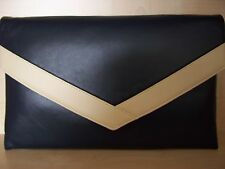 OVER SIZED NAVY BLUE AND CREAM faux leather envelope clutch bag,  fully lined