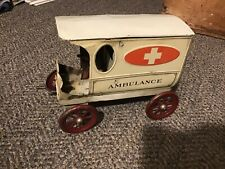 A C Gilbert Windup Ambulance 1917 Pressed Steel Toy W/ Driver RARE