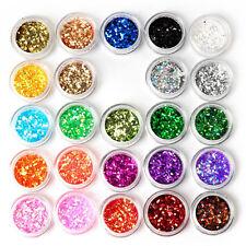 24 Box Nail Glitter Powder Dust for UV Gel Acrylic Powder Sequins Decoration New