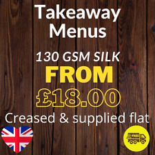 More details for takeaway menus printed on 130gsm silk- a4 scored to a5 or dl and supplied flat