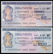 BANCA PROVINCIALE LOMBARDA 4/7/1977 CASSERA SPA BERGAMO PAPER MONEY FDS/UNC