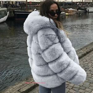 Womens Winter Warm Luxury Faux Fox Fur Jacket Coat Parka Overcoat Outwear