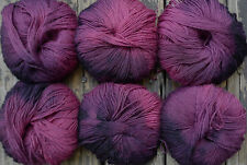 Pure wool  yarn fingering weight, hand dyed gray and mauve, 6 balls, 10 oz.