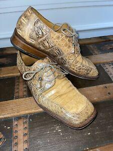 Slick Exotica Mens Shoes Size 9 Alligator Tan Toe Oxford's Reptile