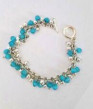 Silver Plated & Teal Fiber Optic Dangle Bead Toggle Bracelet