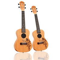 """Ukulele Soprano Mahogany Ukelele Uke Hawaiian Guitar Rose Vine Engrave 21""""/23"""""""