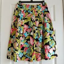 Talbots Womens Pleated Floral Skirt Size 4 Multicolor 100% cotton Lined Zipper