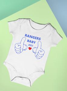 RANGERS BABY 2021 FUN BABY BODYSUIT VEST GIFT IDEA FOOTBALL  COTTON BABYGROW