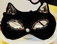 Women Girls Black Sequins Cat Kitty Costume Party Fancy Dance Eye Face Mask
