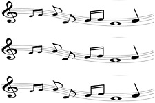 Music Notes Pre Cut A4 Edible Icing Cake Side Strips / Ribbon birthday  3 strips