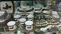 75-Piece White Porcelain Complete Dinner and Sushi Set, Service for 6, Horse