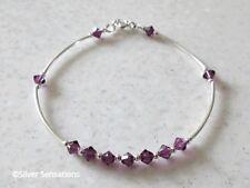 Sterling Silver Bangle Bracelet With Amethyst Purple Swarovski Crystals