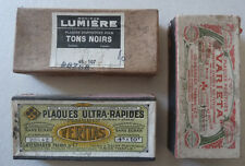 3 Boites 50 Plaques Stéréo Verres Négatifs Vers 1910/20