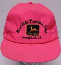 Vtg 1990s JOHN DEERE Tractor Rockford Illinois Neon Pink Nylon Snapback Hat Cap