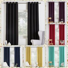 Linen Look Blackout Bedroom Lounge Hall Room Eyelet Top Curtains New Colour