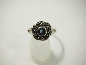 Ladies Blue Topaz and Marcasite Ring Sterling Silver size 9.5