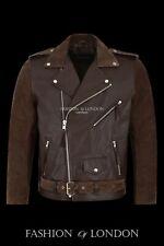 Mens BRANDO Jacket Brown SUEDE COWHIDE Motorcycle Motorbike Biker Leather Jacket