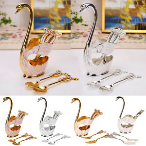 6pcs Swan Fork Coffee Spoon Holder Hollow Fruit Dessert Tableware Home Decor