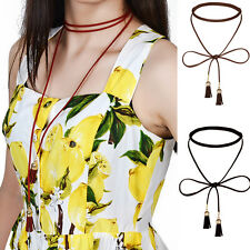 Gothic Tassel Leather Chain Necklace Charm Collar Choker Rope Women Bohemian