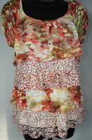 New Direction's Women's Multi-Color Layered Floral Lace Short Sleeve Shirt Sz PM