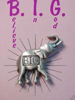 """JJ"" Jonette Jewelry Silver Pewter 'God's Creatures - BIG' Elephant Tac Pin"