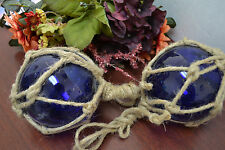 """2 PCS COBALT BLUE REPRODUCTION GLASS FLOAT FISHING BALL WITH FISHNET 4"""" SF-502"""