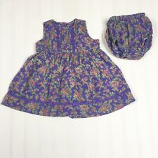 CORNELLOKI Baby Floral Dress Girls 6 - 12 Months Purple Cotton Sleeveless EUC