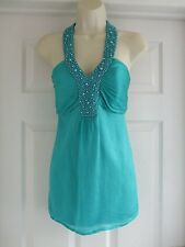star size 14 green halterneck womens beads formal top Ladies Summer Party
