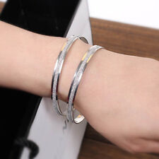 Silver  Girl Lady Polished Stainless Steel Double Ring Bracelet Bangle